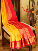 Silk Cotton Saree mango yellow and red with rich korvai zari border