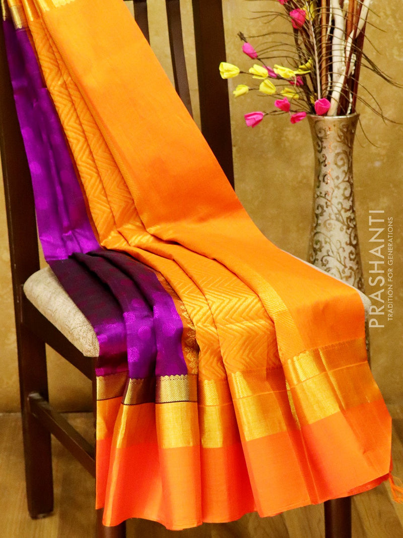 Kuppadam silk cotton saree deep purple and orange with self emboss and gold zari border