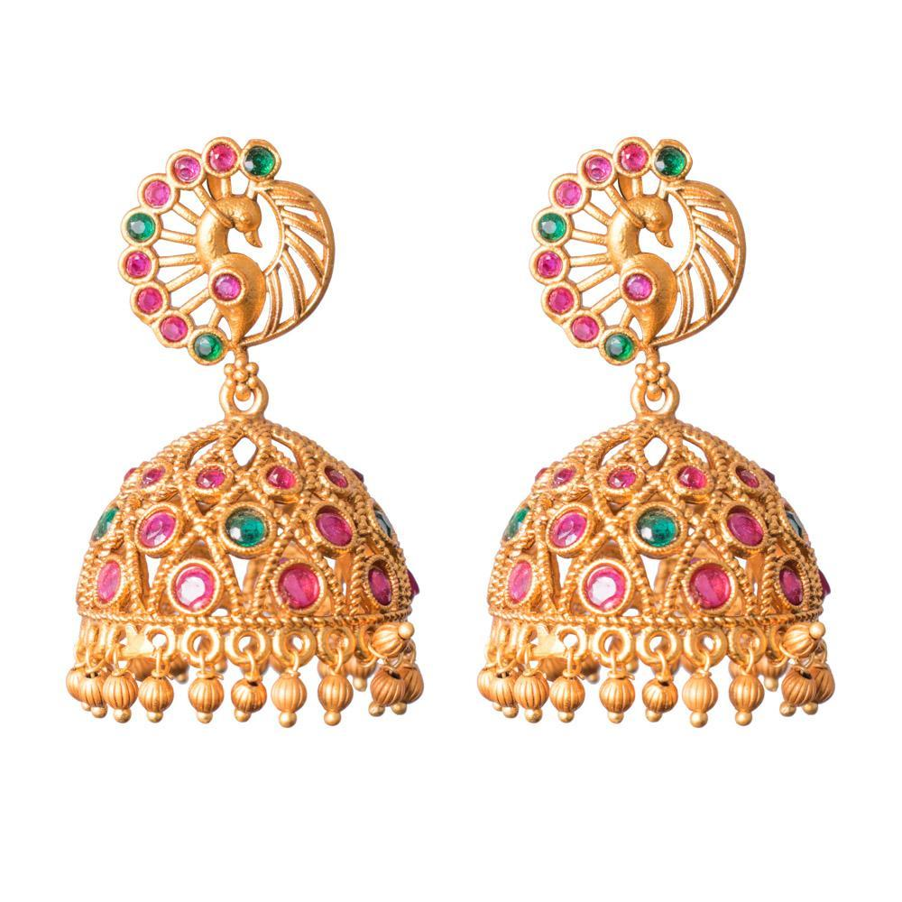 Heavy wear gold jhumkas for Rs.Rs. 750.00 | Jhumkas by Prashanti Sarees