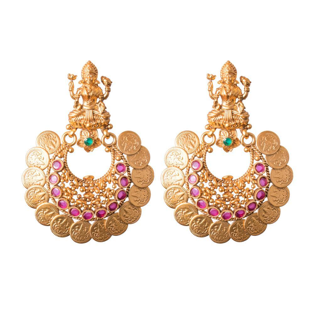 Laxmi coin earrings