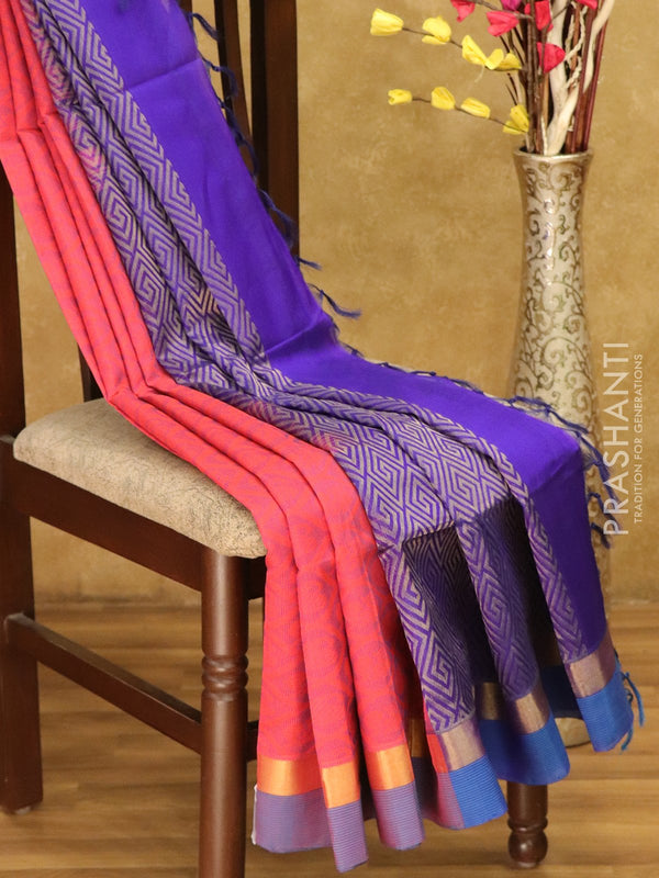 Lightweight silk cotton saree peach pink and violet with thread woven paisley annam buttas and zari border