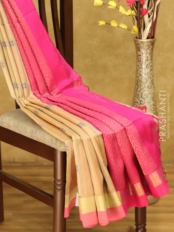 Lightweight silk cotton saree beige and pink with thread woven lines and golden zari border