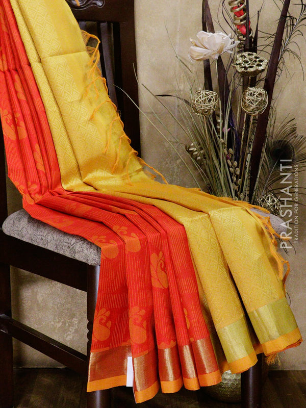 Lightweight silk cotton saree red and mustard yellow with thread woven lines paisley buttas and golden zari border