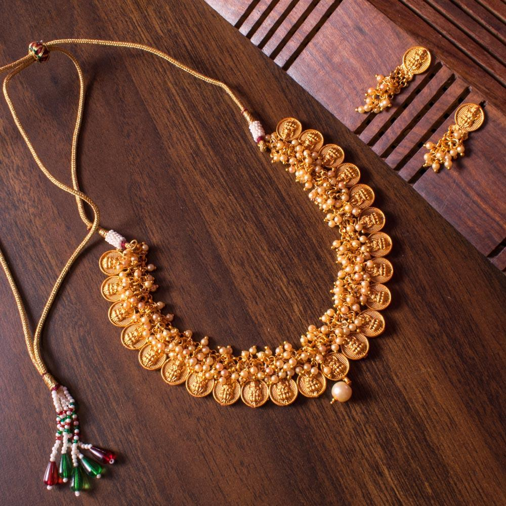 Short gold plated necklace set