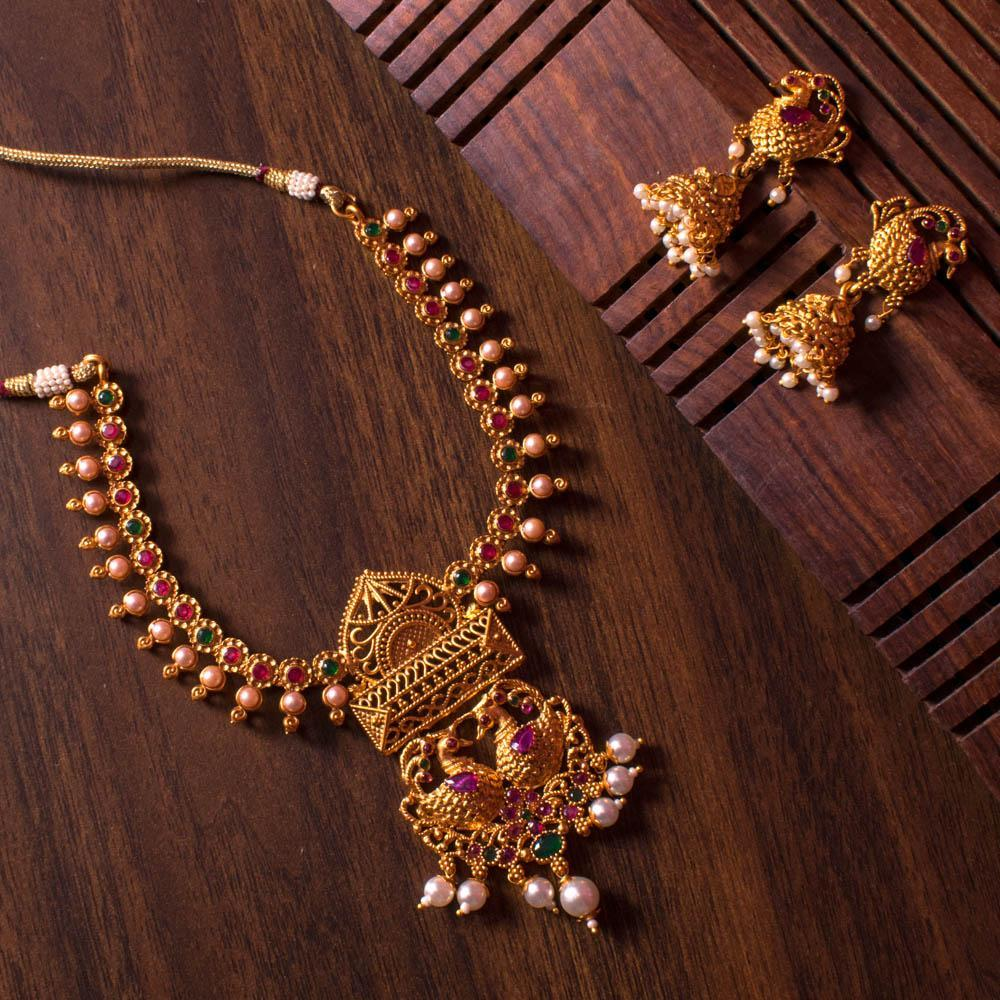 Peacock gold necklace