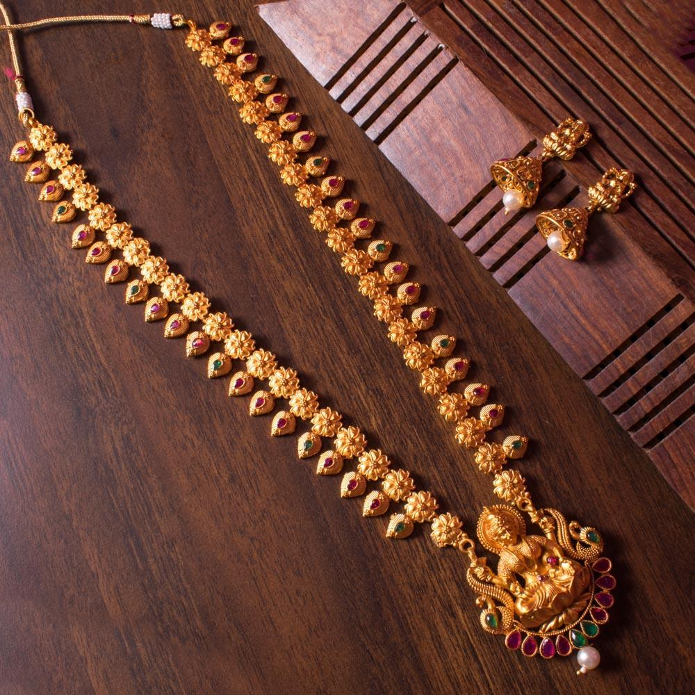 Laxmi gold plated long necklace set