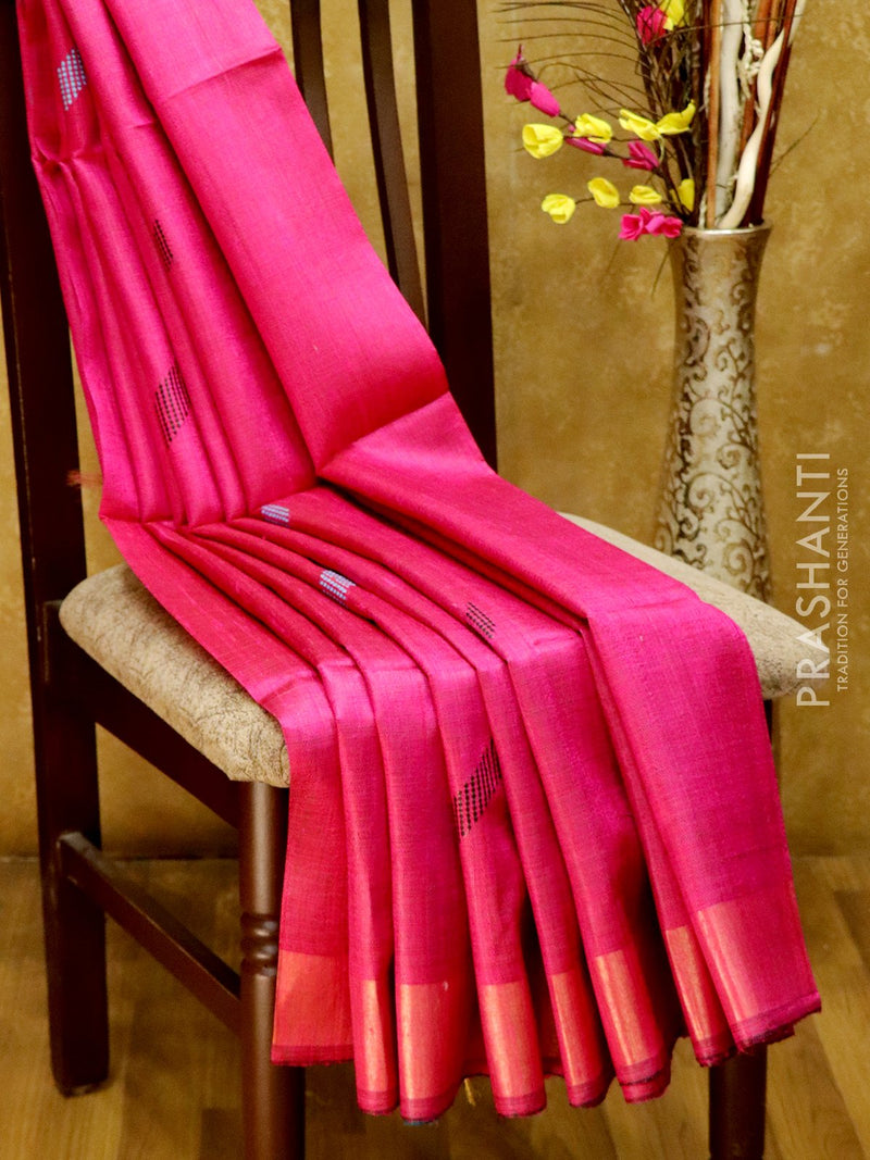 Dupion Silk saree blue and pink with thread weavings and golden zari border