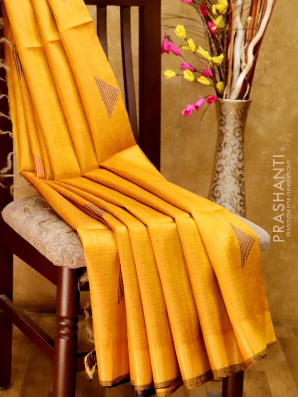 Dupion Silk saree golden yellow and navy blue with thread weavings and golden zari border