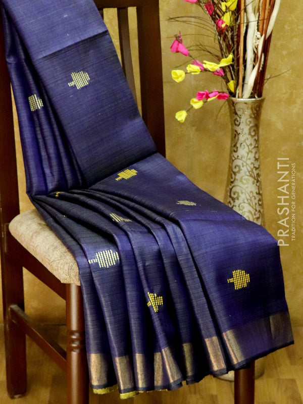 Dupion Silk saree navy blue and yellow with thread weavings and golden zari border