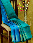 Dupion Silk saree peacock blue and green with geometric thread weavings and golden zari border