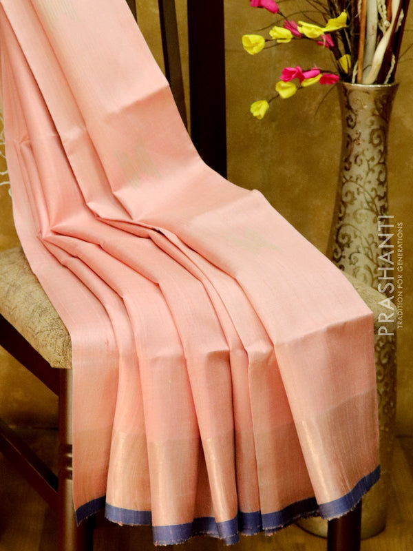 Dupion Silk saree baby pink with thread weavings andpiping border