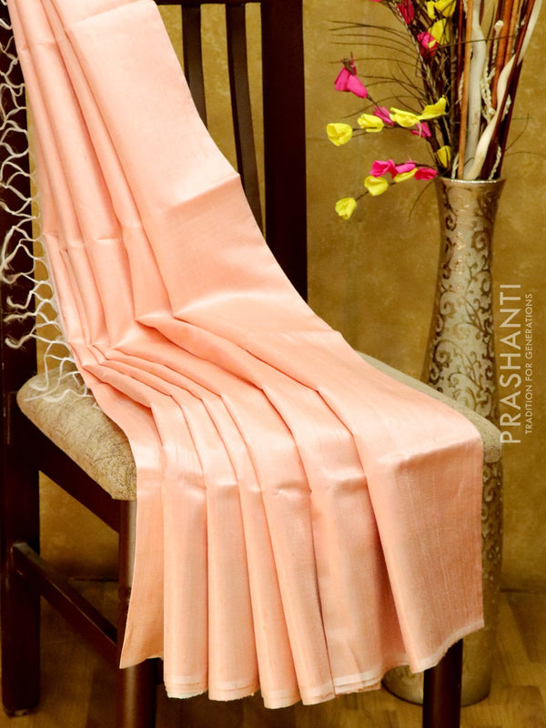 Dupion Silk saree off white and baby pink with geometric thread weavings and golden zari border