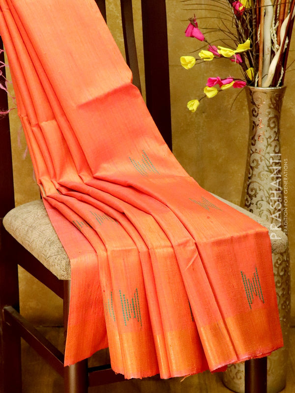 Dupion Silk saree violet and orange with weavy thread weavings and golden zari border