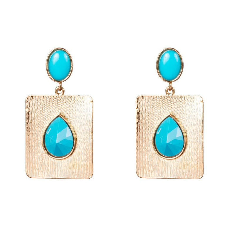 Sea Blue Stone Gold Plated Earrings