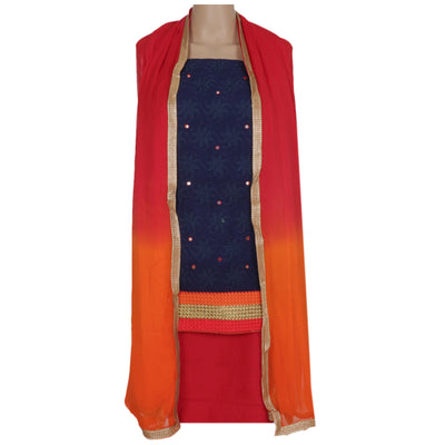 Dress Material - Dark blue and Maroon with embroidery top and chiffon dupatta