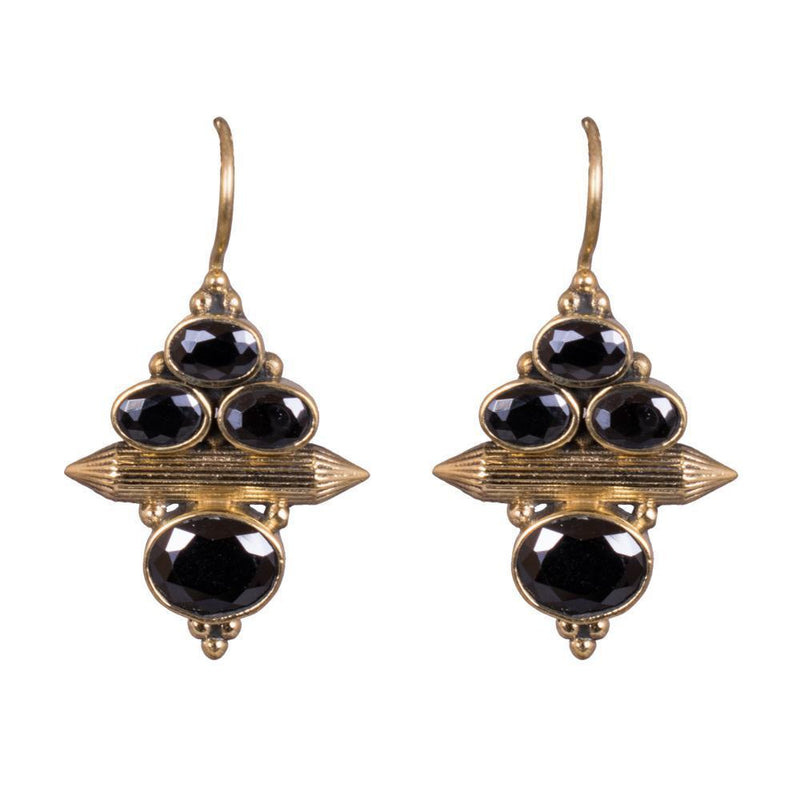 Black Kemp Gold Plated Earrings