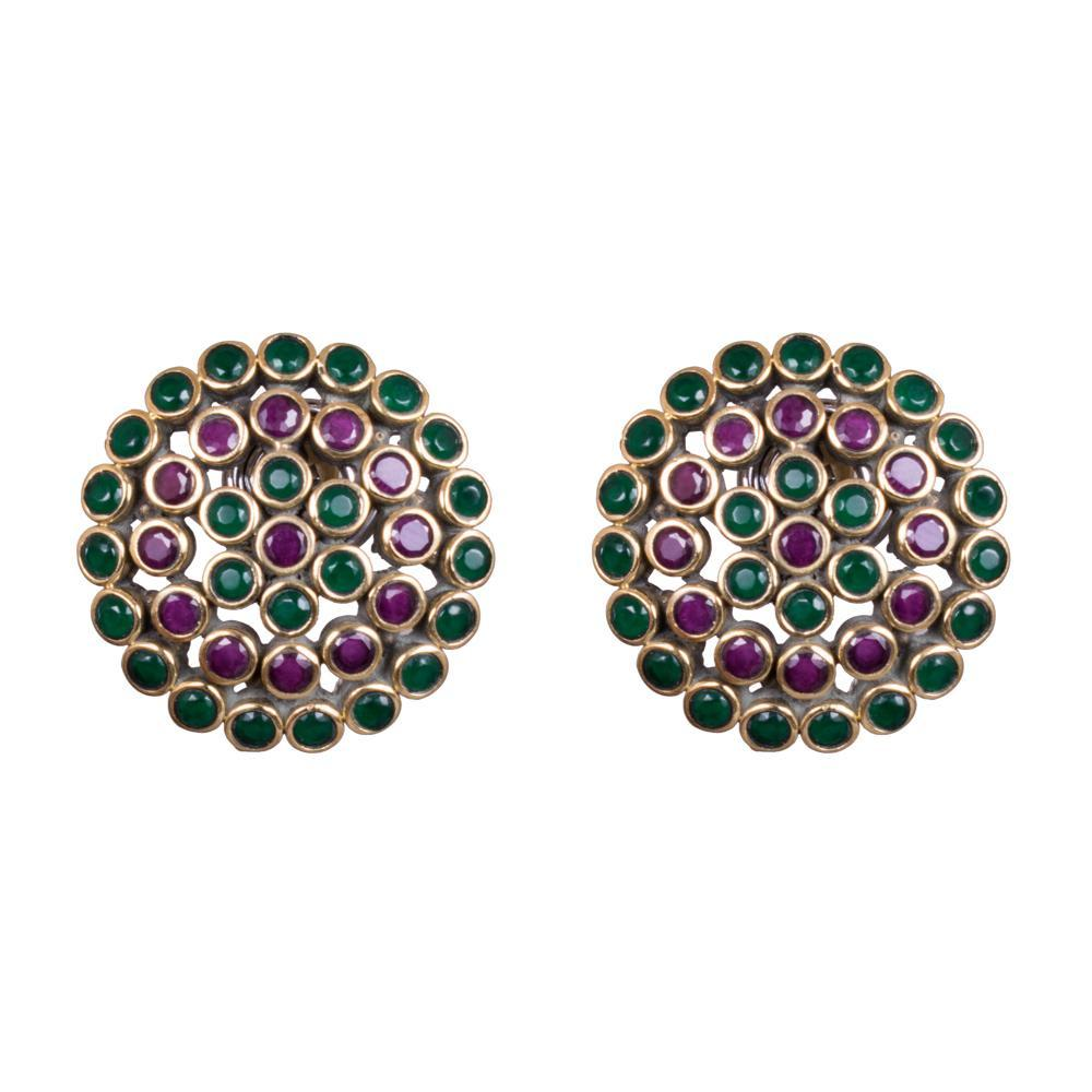 Multicoloured green ruby earrings
