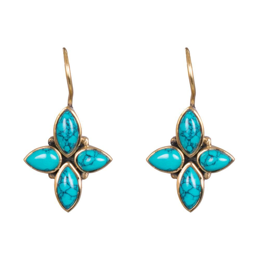 Aqua blue floral earrings