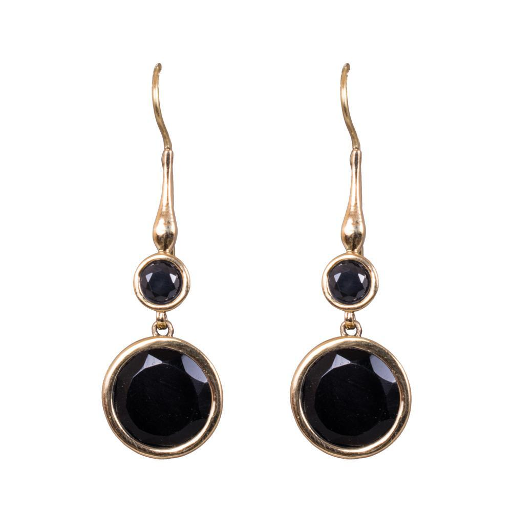 Black circular layered earrings