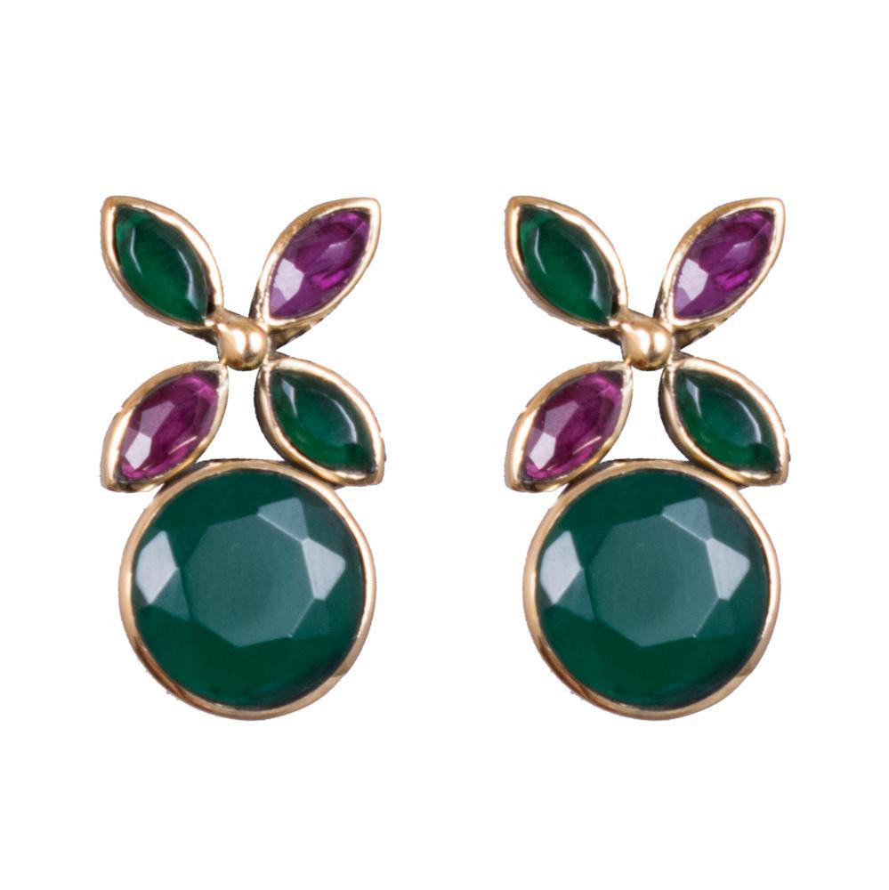 Floral ruby emerald earrings