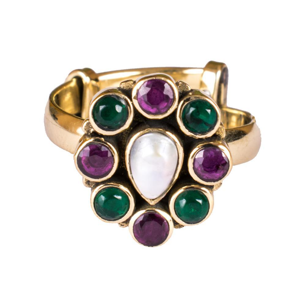 Purple And Green Antique Finger Ring