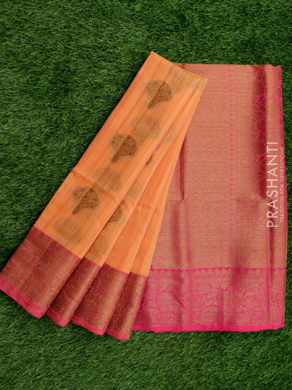 Semi katan saree peach and pink with rich banarasi border for Rs.Rs. 2150.00 | by Prashanti Sarees
