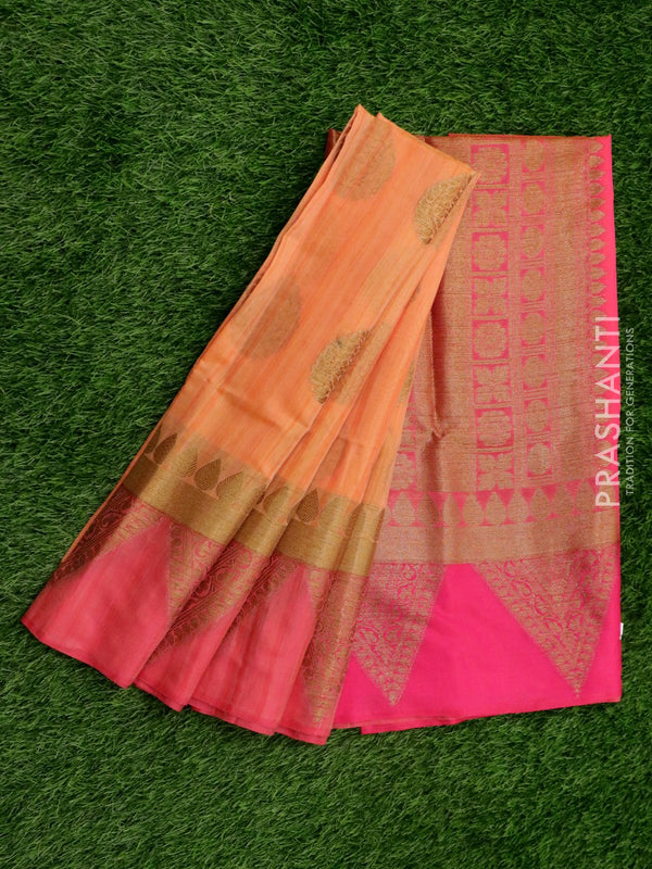Semi katan saree peach and pink with rich banarasi border for Rs.Rs. 2150.00 | Banarasi Sarees by Prashanti Sarees