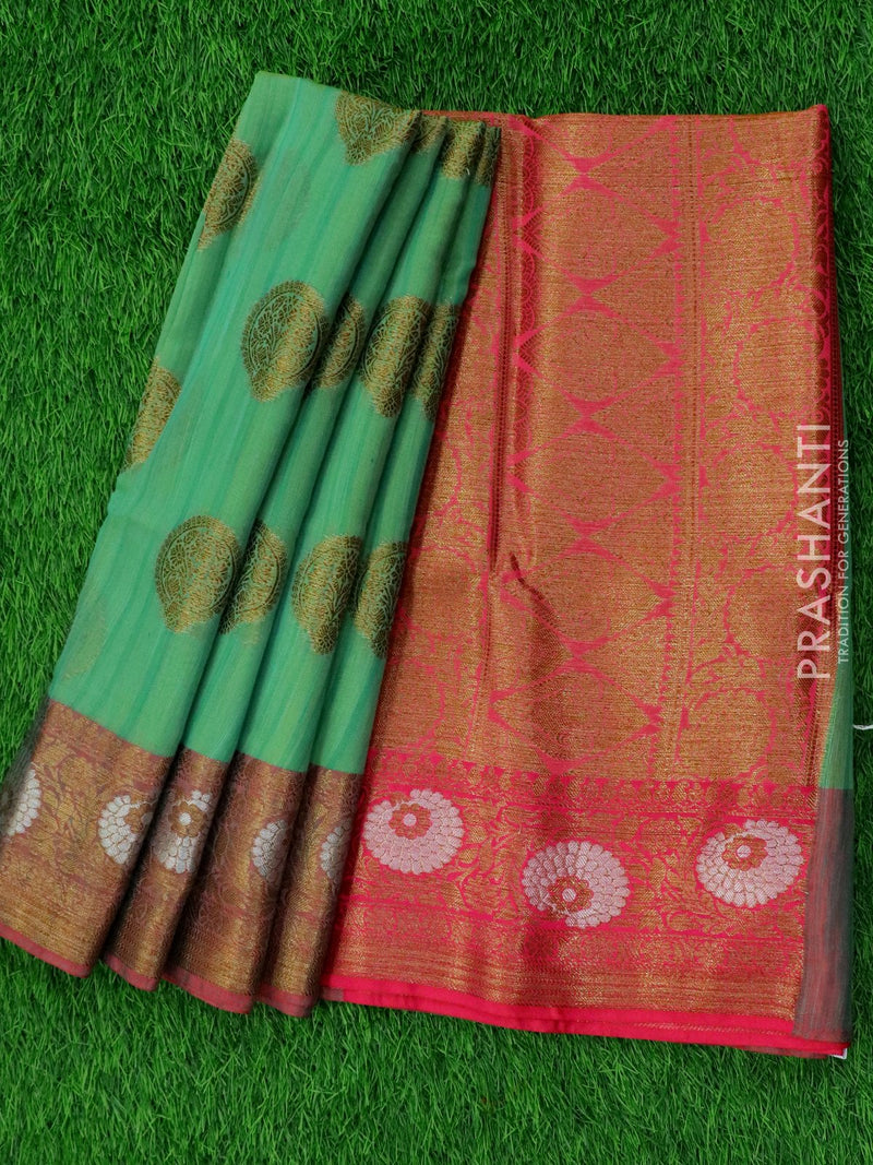 Semi katan saree green and pink with rich banarasi border