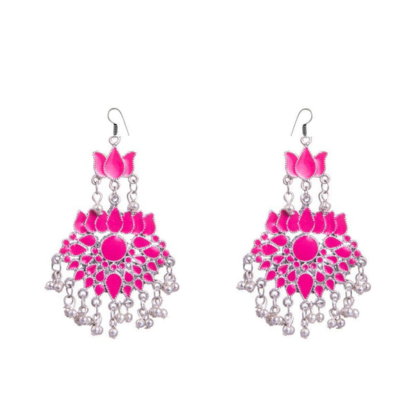 Baby Pink Lotus Shape Dangler Earrings