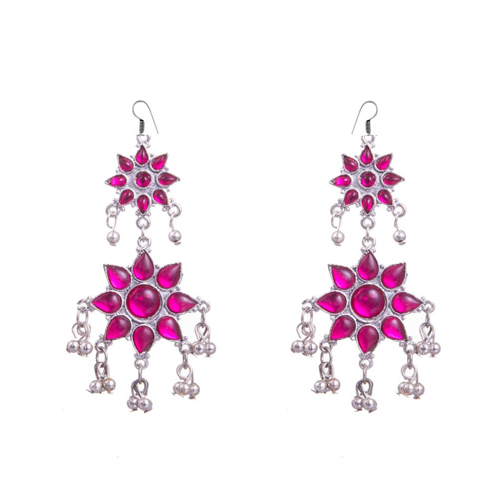 Purple Colour Floral Shape Earrings
