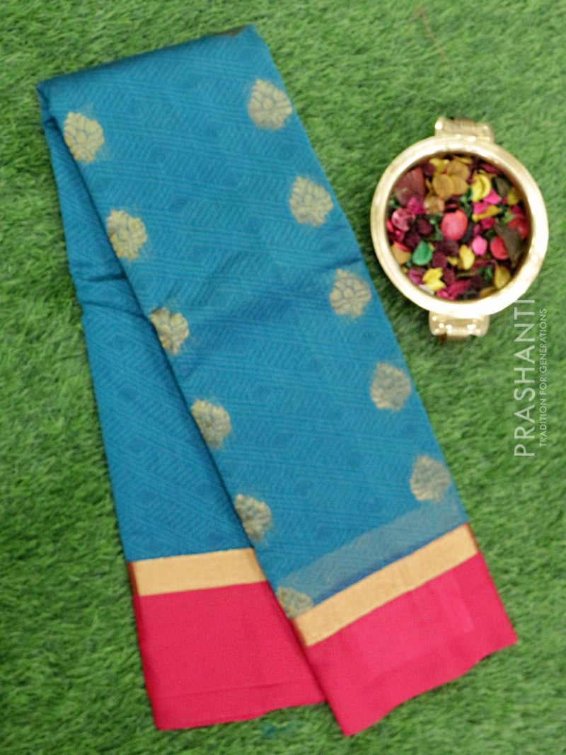 South Kota saree peacock green and pink with self emboss and floral buttas with simple zari border