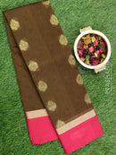 South Kota saree brown and pink with self emboss and floral buttas with simple zari border