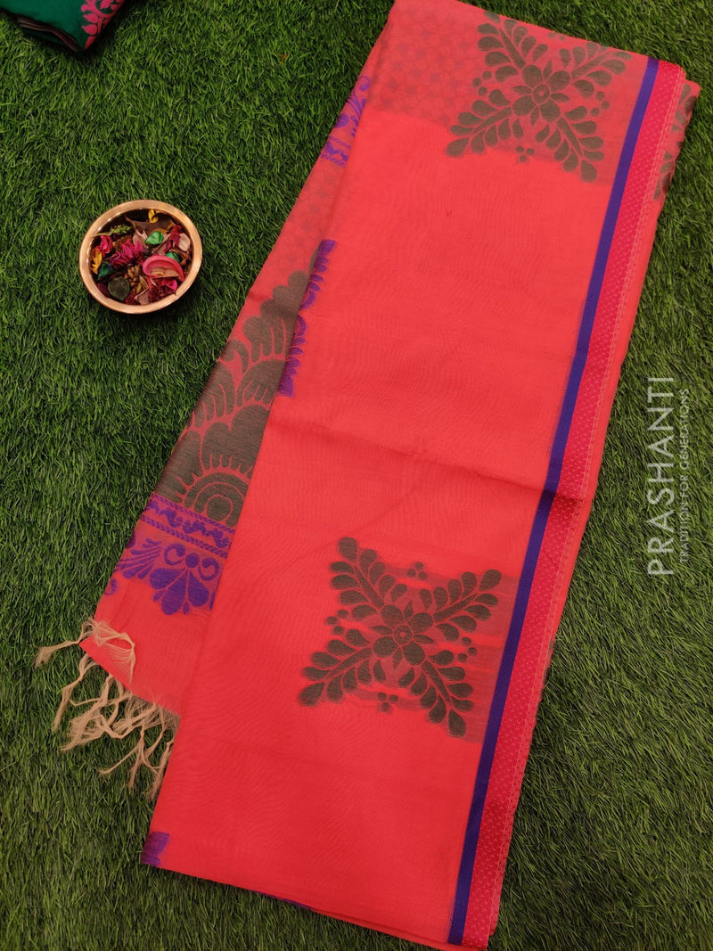 South Kota saree peachish pink with piping border and buttas in borderless style