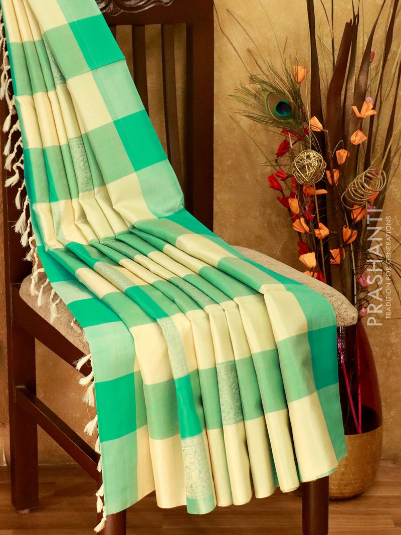 Soft Silk Saree teal and off white checks in borderless style