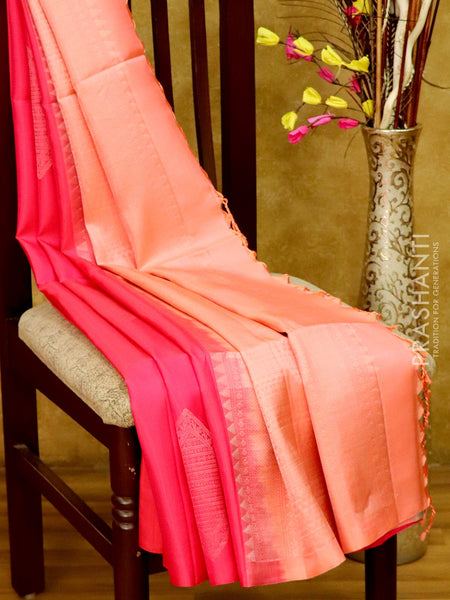 Soft Silk Saree pink and pastal pink with silver zari geometric buttas in borderless style