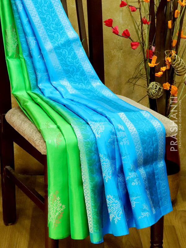 Soft Silk Saree green and blue with zari motif in borderless style
