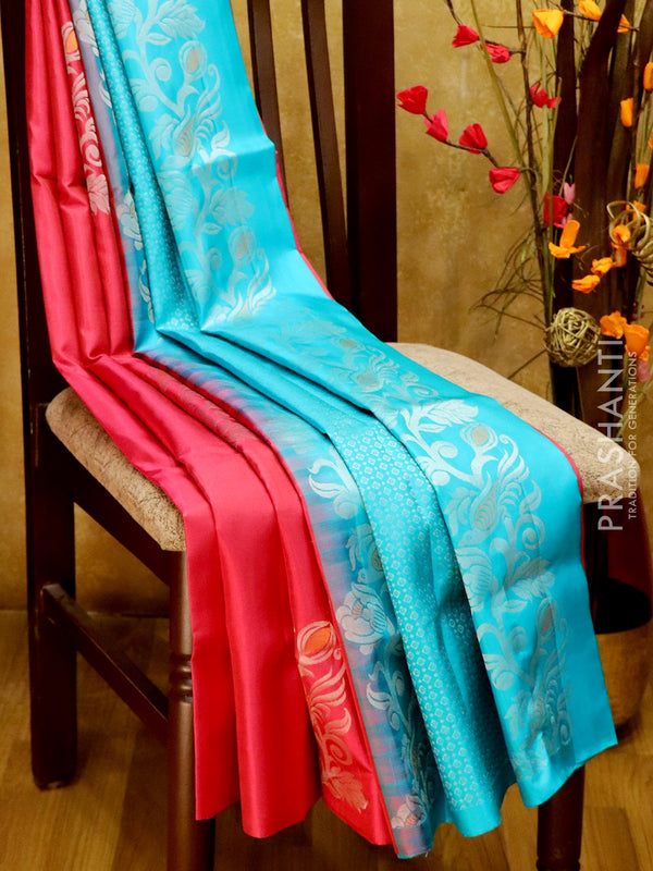 Soft Silk Saree onion pink and teal with silver zari motifs in borderless style