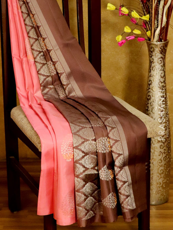 Soft Silk Saree baby pink and pale brown with zari buttas in borderless style