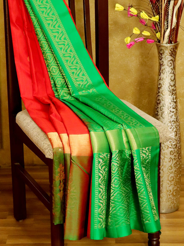 Soft Silk Saree red and dual shade of green with paisley buttas and floral butta border
