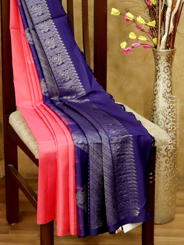 Soft Silk Saree pink and navy blue with zari woven geometric butta in borderless style