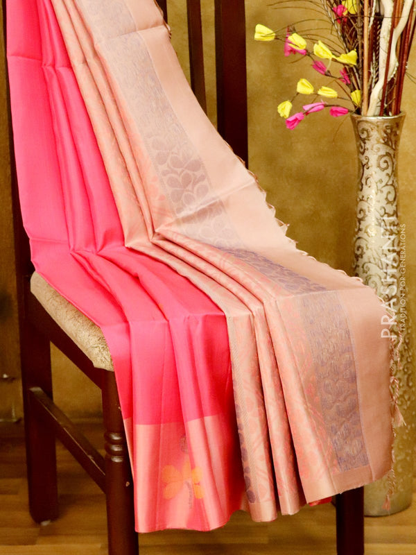 Soft Silk Saree peach pink and pastal shade with thread woven floral buttas and zari woven border