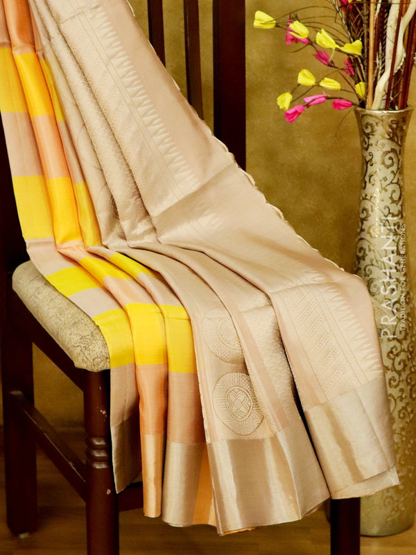 Soft Silk Saree yellow and pastal shade with silver zari buttas checked pattern and zari border