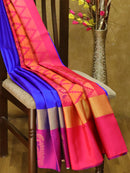 Soft Silk Saree royal blue and magenta with self emboss and butta style border