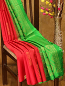 Soft Silk Saree red and green borderless buttas