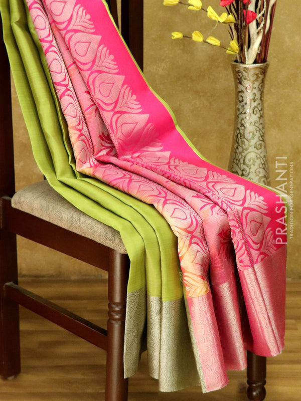 Soft Silk saree Green & Pink with Floral Silver Zari Woven Border