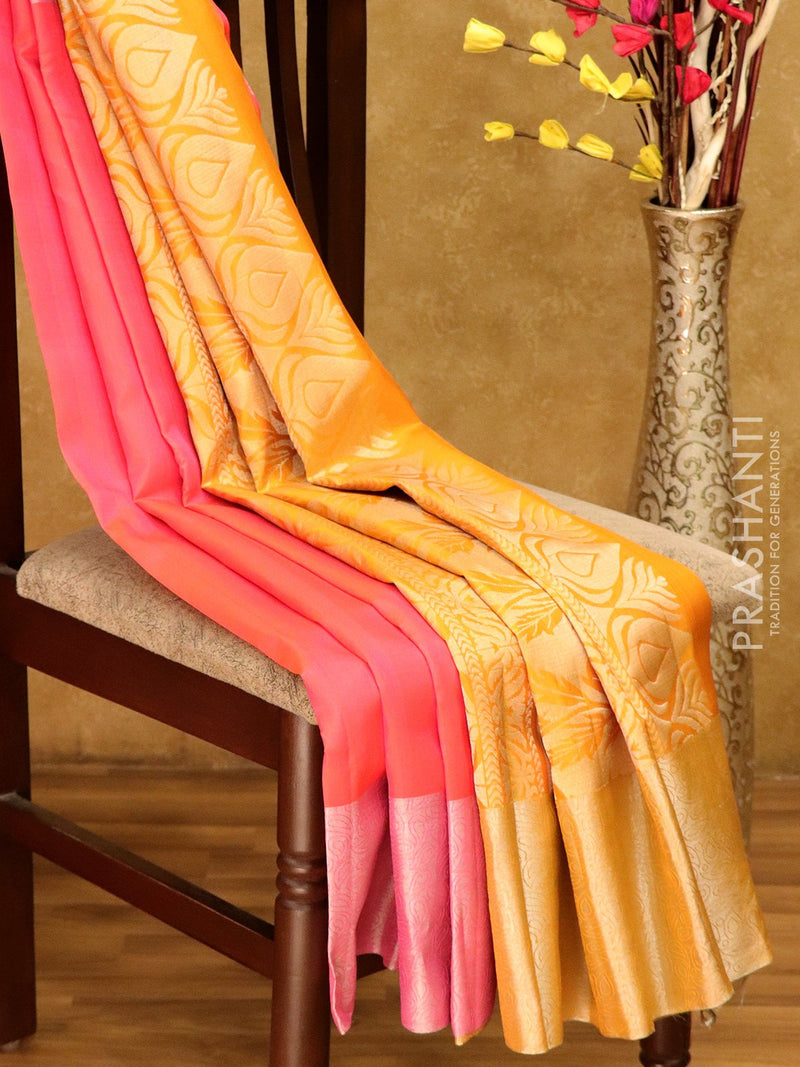 Soft Silk saree dual Shade of Pink & yellow with Floral Silver Zari Woven Border