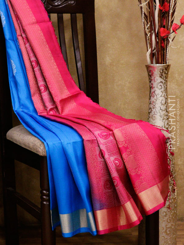 Soft Silk saree blue and pink with simple zari border and floral buttas