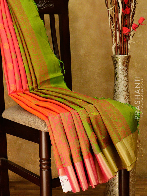 Soft Silk saree peachish pink and green with thread and zari woven border and thread buttas