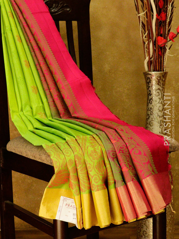 Soft Silk saree lime green and pink with thread and zari woven border and thread buttas