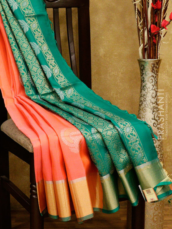 Soft Silk saree peachish pink and green with silver zari border and buttas
